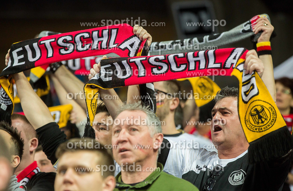 Supporters of Germany listening to the national anthem during handball match between National teams of Germany and Slovenia on Day 6 in Preliminary Round of Men's EHF EURO 2016, on January 20, 2016 in Centennial Hall, Wroclaw, Poland. Photo by Vid Ponikvar / Sportida