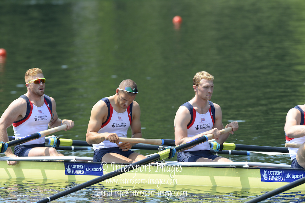 Lucerne. Switzerland. GBR1 M8+. Bow. Tom RANSLEY, Dan RICHIE, Peter REED, Will SATCH, Mo SBIHI, Alex GREGORY George NASH, Andy TRIGGS HODGE and cox,  Phelan HILL, move away from the start pontoon in their heat of the  men's eights FISA WC III. 13:46:26  Friday  12/07/2013  [Mandatory Credit, Peter Spurrier/ Intersport Images] Lake Rotsee,