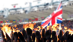 GV of the Olympic cauldron and the British flag in the Olympic Stadium in Olympic Park in London as part of the London 2012 Olympics on the 4th August 2012..Photo by Ron Gaunt/SPORTZPICS