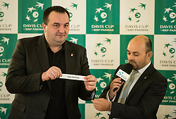 Sasa Pelko and  Franck Sabatier during Official Draw of Davis Cup 2018 tournament between National teams of Slovenia and Poland, on February 2, 2018 in Mestna hisa - Mariborski Rotovz, Maribor, Slovenia. Photo by Rene Gomolj / Sportida