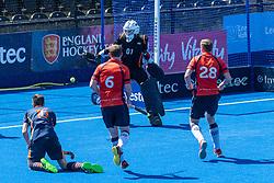 Blackheath & Elthamians v East London - Men's T2 Final, Lee Valley Hockey & Tennis Centre, London, UK on 07 May 2018. Photo: Simon Parker