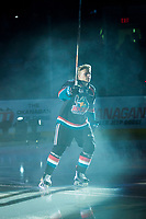KELOWNA, CANADA - SEPTEMBER 22: Ted Brennan #10 of the Kelowna Rockets enters the ice for home opener against the Kamloops Blazers on September 22, 2017 at Prospera Place in Kelowna, British Columbia, Canada.  (Photo by Marissa Baecker/Shoot the Breeze)  *** Local Caption ***