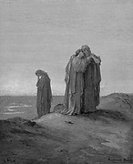 Ruth embracing her mother-in-law Naomi and promising to stay with her now they are bereaved. Ruth 1.14. From Gustave Dore's illustrated 'Bible' 1866. Wood engraving.