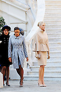 19.NOVEMBER.2011. MONACO<br /> <br /> PRINCESS CAROLINE OF HANOVER AND PRINCESS STEPHANIE OF MONACO WITH PRINCESS CHARLENE OF MONACO AT THE PALACE FOR THE NATIONAL DAY OF MONACO, IN MONACO.<br /> <br /> BYLINE: EDBIMAGEARCHIVE.COM<br /> <br /> *THIS IMAGE IS STRICTLY FOR UK NEWSPAPERS AND MAGAZINES ONLY*<br /> *FOR WORLD WIDE SALES AND WEB USE PLEASE CONTACT EDBIMAGEARCHIVE - 0208 954 5968*