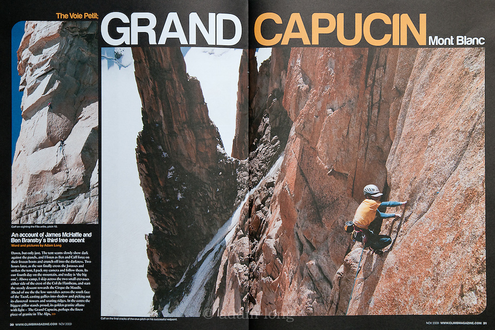 Opening spread for lead feature, Climb Magazine