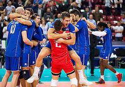 17-10-2015 BUL: Volleyball European Championship Frankrijk - Bulgarije, Sofia<br /> Semifinal in Arena Armeec Sofia / Pierre Pujol #13 of France and Jenia Grebennikov #2 of France celebrate<br /> Photo: Vid Ponikvar / RHF<br /> +++USE NETHERLANDS ONLY+++