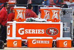 Dec 19, 2011; San Francisco, CA, USA; Detailed view of Gatorade containers behind the San Francisco 49ers bench before the game against the Pittsburgh Steelers at Candlestick Park. San Francisco defeated Pittsburgh 20-3. Mandatory Credit: Jason O. Watson-US PRESSWIRE