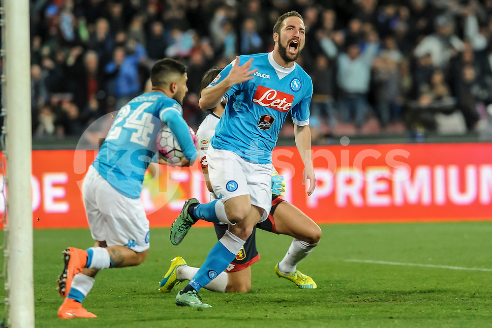 Gonzalo Higuain of Napoli celebrates scoring the equiliser during the Serie A TIM match between Napoli and Genoa at Stadio San Paolo, Naples, Italy on 20 March 2016. Photo by Franco Romano.