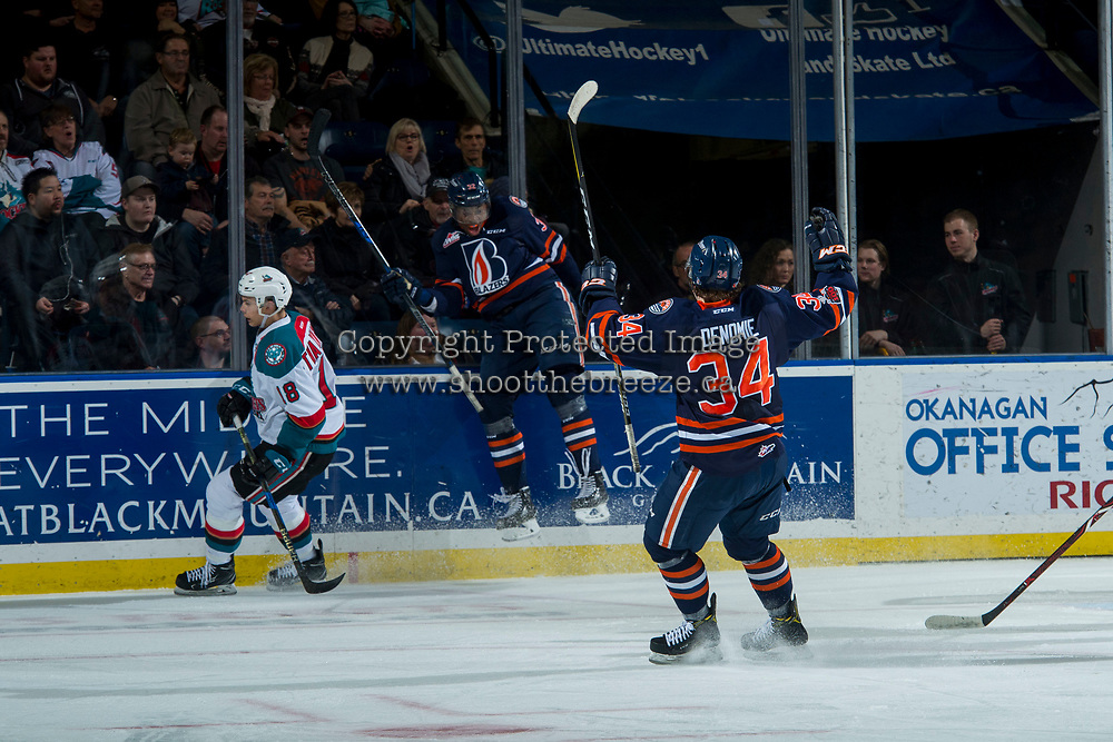 KELOWNA, CANADA - FEBRUARY 24:  Jermaine Loewen #32 and Carson Denomie #34 of the Kamloops Blazers celebrate a second period goal against the Kelowna Rockets on February 24, 2018 at Prospera Place in Kelowna, British Columbia, Canada.  (Photo by Marissa Baecker/Shoot the Breeze)  *** Local Caption ***
