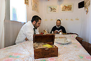 Two Jewish men reading (learning) the Torah inside their family Sukkah. On the table is an Etrog (Citron) on a bed of horse hair inside a presentation box. The etrog is used in the mitzvah of the four species for the festival of Sukkot, the feast of Tabernacles. The holiday of Sukkot commemorates the forty-year period during which the children of Israel were wandering in the desert.
