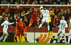 21.02.2013, Anfield, Liverpool, ENG, UEFA Europa League, FC Liverpool vs Zenit St. Petersburg, im Bild Liverpool's Jordan Henderson in action against FC Zenit St Petersburg's Luis Neto during UEFA Europa League match between Liverpool FC and Zenit St. Petersburg at Anfield, Liverpool, Great Britain on 2013/02/21. EXPA Pictures © 2013, PhotoCredit: EXPA/ Propagandaphoto/ David Rawcliffe..***** ATTENTION - OUT OF ENG, GBR, UK *****