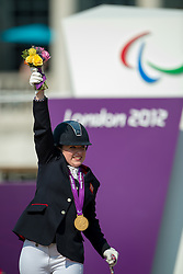 Baker Natasha (GBR) celebrates her Gold Medal in the Individual Freestyle - Grade II Dressage <br /> London 2012 Paralympic Games<br /> © Hippo Foto - Jon Stroud