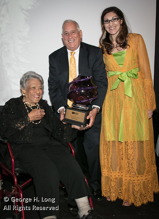 Leah Chase, Walter Isaacson, and Miranda Restovic at the Louisiana Endowment for the Humanities Bright Lights Awards Dinner at Popp Fountain in City Park of New Orleans on May 10, 2018