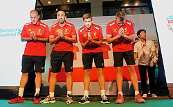 BANGKOK, THAILAND - Saturday, July 27, 2013': Liverpool's Martin Skrtel, captain Steven Gerrard, Jose Enrique and goalkeeper Simon Mignolet during a commercial appearance at the Capital World Shopping Centre ahead of their preseason friendly match against Thailand. (Pic by David Rawcliffe/Propaganda)