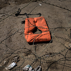 An abandoned lifejacket at the border between Greece and Macedonia near the town of Gevgelija. During the month of August about 3000 refugees mainly from Syria, Iraq and Afghanistan, crossed into Macedonia each day, after traveling by rafts from Turkey to Greece.