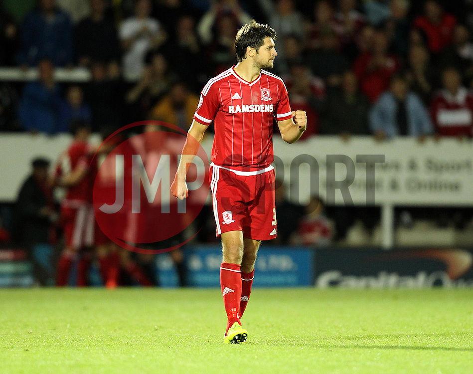 George Friend of Middlesbrough celebrates his sides second goal against Burton - Mandatory byline: Robbie Stephenson/JMP - 07966386802 - 25/08/2015 - FOOTBALL - Pirelli Stadium -Burton,England - Burton Albion v Middlesbrough - Capital One Cup - Second Round