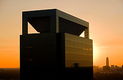Aerial view of Memorial Hermann Medical Plaza at sunset with Williams Tower in the background.
