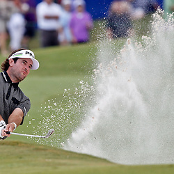 Apr 29, 2012; Avondale, LA, USA; Bubba Watson on the 18th hole during the final round of the Zurich Classic of New Orleans at TPC Louisiana. Mandatory Credit: Derick E. Hingle-USA TODAY SPORTS