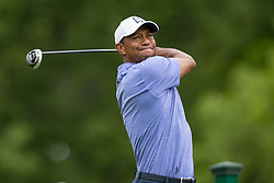 May 30, 2019 - Dublin, OH, U.S. - DUBLIN, OH - MAY 30: Tiger Woods plays his shot from the 18th tee during the Memorial Tournament presented by Nationwide at Muirfield Village Golf Club on May 30, 2018 in Dublin, Ohio. (Photo by Adam Lacy/Icon Sportswire) (Credit Image: © Adam Lacy/Icon SMI via ZUMA Press)