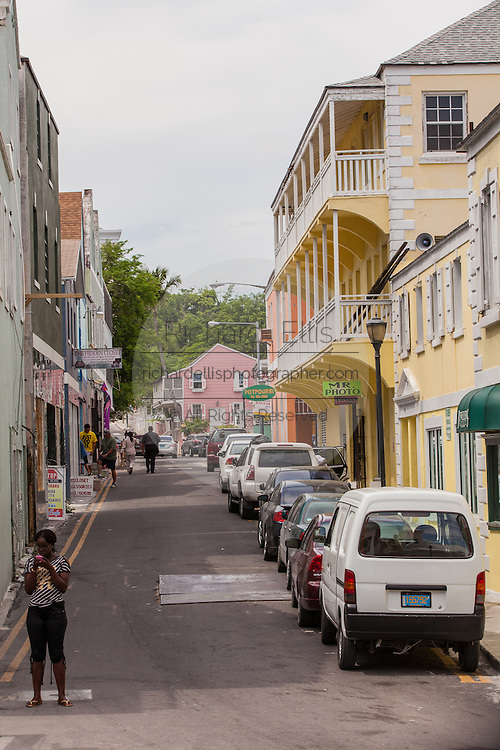 Colonial street in Nassau, Bahamas.