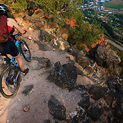 Heather Goodrich rides along the ridgeline of the Red Hill trail system of Carbondale, Colorado.