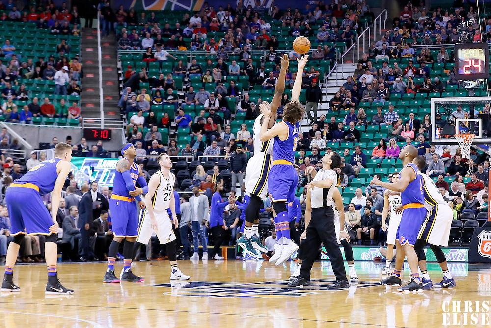 09 December 2015: Jump ball between Utah Jazz forward Derrick Favors (15) and New York Knicks center Robin Lopez (8) during the Utah Jazz 106-85 victory over the New York Knicks, at the Vivint Smart Home Arena, Salt Lake City, Utah, USA.