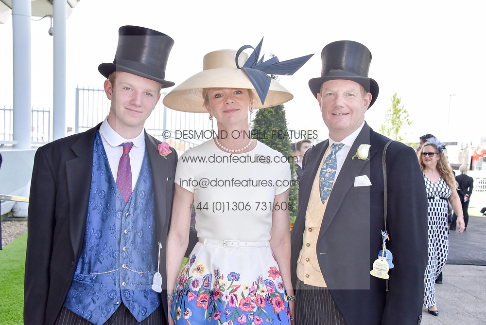 The Earl & Countess Of Derby and their son the Hon Oliver Stanley at the 2d day of The Investec Derby Festival - Derby Day, Epsom Racecourse, Epsom, Surrey, UK. 01 June 2019.