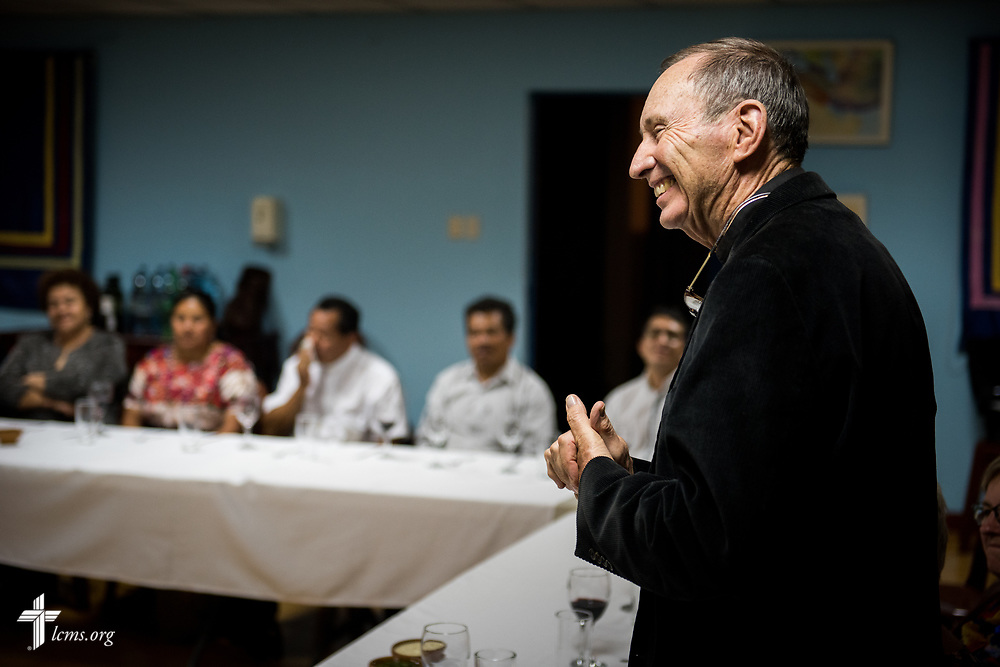 Herb Burch, former LCMS missionary to Guatemala and now missionary in Belize, addresses a group of Guatemalan pastors and spouses at a fellowship event following evening service on Wednesday, Oct. 4, 2017, at Iglesia Luterana de Cristo Rey (Christ the King) in Guatemala City, Guatemala. LCMS Communications/Erik M. Lunsford