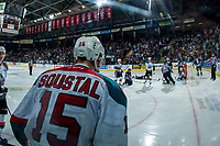 KELOWNA, CANADA - APRIL 26: Tomas Soustal #15 of the Kelowna Rockets stands at the glass after scoring a third period goal against the Seattle Thunderbirds on April 26, 2017 at Prospera Place in Kelowna, British Columbia, Canada.  (Photo by Marissa Baecker/Shoot the Breeze)  *** Local Caption ***