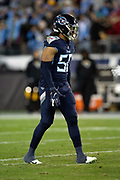 Tennessee Titans rookie linebacker Sharif Finch (56) looks on during the week 14 regular season NFL football game against the Jacksonville Jaguars on Thursday, Dec. 6, 2018 in Nashville, Tenn. The Titans won the game 30-9. (©Paul Anthony Spinelli)