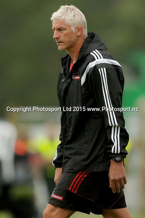 Todd Blackadder coach of the Crusaders looks on, prior to the Farmlands Cup match between the Highlanders and the Crusaders, held at Fred Booth Park, Gore, New Zealand, 11 February 2016. Copyright Image: Joe Allison / www.Photosport.nz