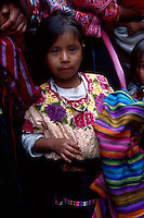 Mayan girl in traditional dress, Nahuala, Guatemala