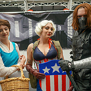 Business Design Centre, England, UK. 23rd August 2017. Hosts of Comic fans dress up in costumes attends and comic maniac buys tens of copy comic book at the London Super Comic Convention 2017.