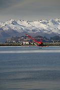 Mountains and Harbor, Kodiak Island, Alaska, US