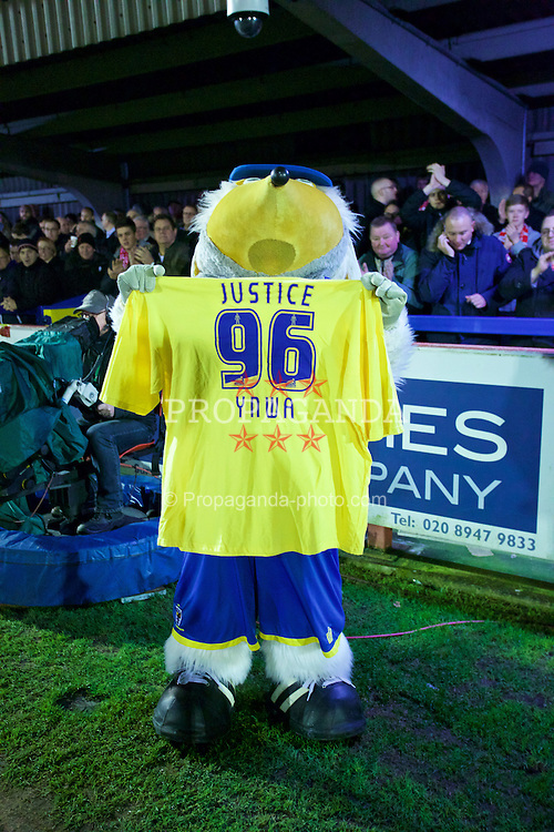 KINGSTON-UPON-THAMES, ENGLAND - Monday, January 5, 2015: The AFC Wimbledon Womble mascot with a Justice for the 96 shirt before the FA Cup 3rd Round match against Liverpool at the Kingsmeadow Stadium. (Pic by David Rawcliffe/Propaganda)