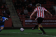 Danny Wright scores the 3td goal during the Vanarama National League match between Cheltenham Town and Chester City at Whaddon Road, Cheltenham, England on 5 December 2015. Photo by Antony Thompson.