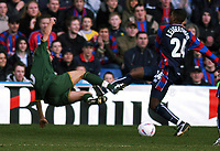 PHOTO:ALAN CROWHURST.<br />CRYSTAL PALACE V NORWICH.NATIONWIDE DIVISION 1.20/03/2004.MIKELE LEIGERTWOOD UPENDS DARREN HUCKERBY.