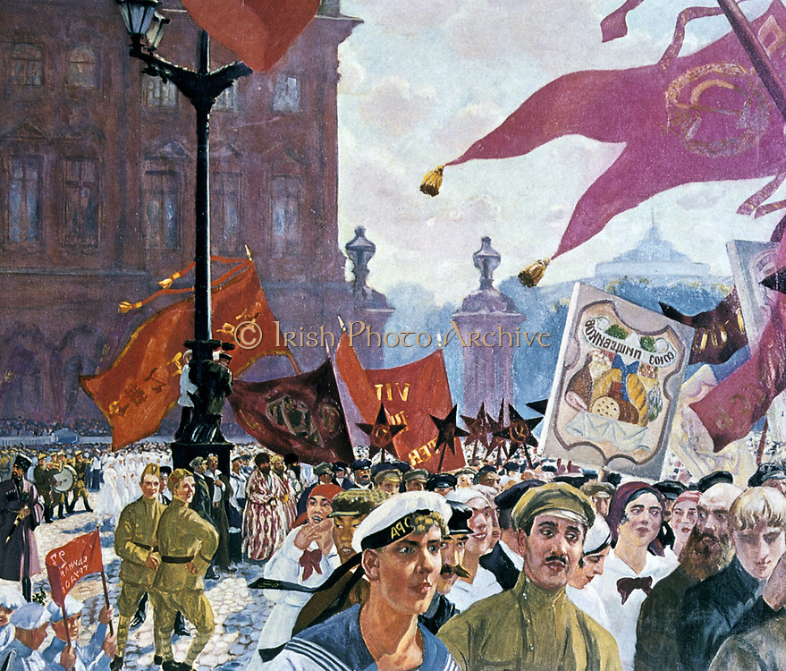 Celebrations marking the opening of the Second Congress of the Komintern, St Petersburg, 1921. Boris Mikhaylovich Kustodiev (1878-1827) Russian painter and stage designer. Leningrad Russia USSR Communism Communist  March Banner