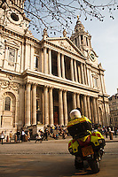 Paramedic ambulance motorcycle in front of St. Paul's Cathedral, London, England.