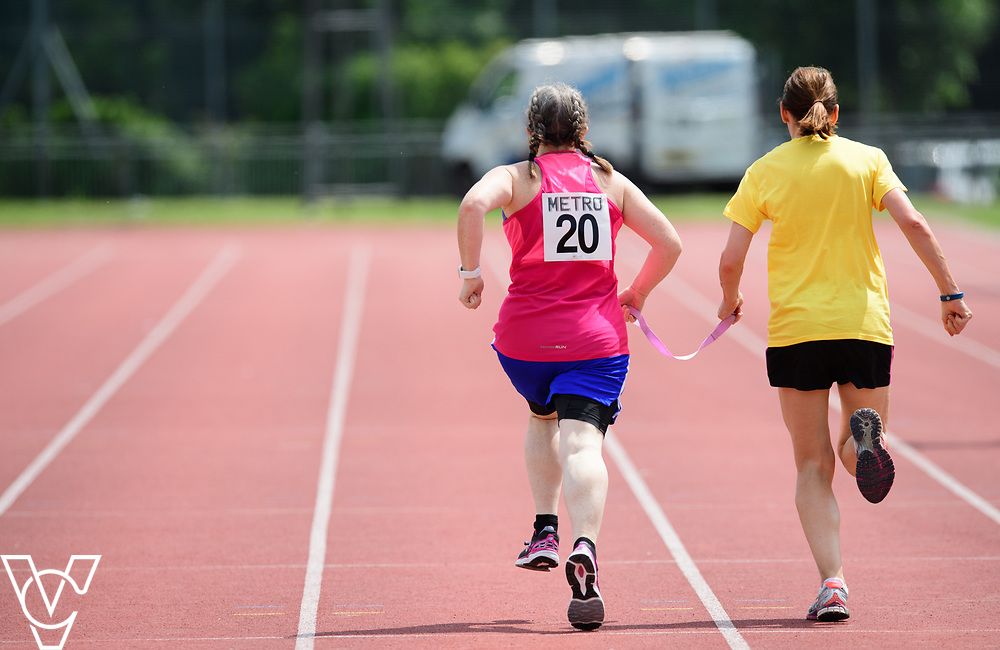 Metro Blind Sport's 2017 Athletics Open held at Mile End Stadium.  200m Senior Women.  Lisa Hendy with guide runner<br /> <br /> Picture: Chris Vaughan Photography for Metro Blind Sport<br /> Date: June 17, 2017