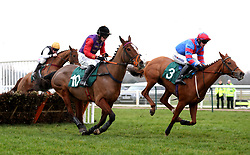 "Runners and Riders competing in the racingtv.com/freetrial Mares' ""National Hunt"" Novices' Hurdle during Midlands Raceday at Warwick Racecourse."