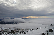 Overcast and undercast as seen from the summit of Mount Washington, New Hampshire.