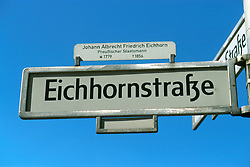 GERMANY BERLIN APR04 - Street sign of Eichhornstrasse, Berlin.<br /> <br /> <br /> <br /> jre/Photo by Jiri Rezac <br /> <br /> <br /> <br /> © Jiri Rezac 2004