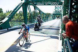 Whitney Allison (USA) of Hagens Berman/Supermint Cycling Team crosses the Freeport bridge during Stage 1 of the Amgen Tour of California - a 124 km road race, starting and finishing in Elk Grove on May 17, 2018, in California, United States. (Photo by Balint Hamvas/Velofocus.com)