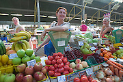 At the market. Young ladies selling fruit and vegetables...A river cruise from Moscow to St. Petersburg aboard MS Kazan, the most luxurious vessel (four star plus) operating in Russia. It is run by Austrian River Cruises under strictly Western standards, chartered - amongst others - by Club 50, a senior's travel agency based in Vienna.