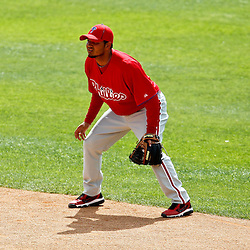 March 20, 2012; Sarasota, FL, USA; Philadelphia Phillies shortstop Freddy Galvis (13) against the Baltimore Orioles during a spring training game at Ed Smith Stadium.  Mandatory Credit: Derick E. Hingle-US PRESSWIRE
