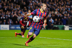 Barcelona Midfielder Sergi Roberto (ESP) in action - Photo mandatory by-line: Rogan Thomson/JMP - Tel: 07966 386802 - 18/02/2014 - SPORT - FOOTBALL - Etihad Stadium, Manchester - Manchester City v Barcelona - UEFA Champions League, Round of 16, First leg.