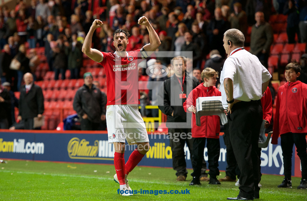 Johnnie Jackson of Charlton Athletic celebrates there 3-1 win in the Sky Bet Championship match at The Valley, London<br /> Picture by Alan Stanford/Focus Images Ltd +44 7915 056117<br /> 07/11/2015