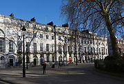 Period Georgian properties in Fitzroy Square in Bloomsbury, on 7th February 2018, in London, England. Fitzroy Square is one of the Georgian squares in London and is the only one found in the central London area known as Fitzrovia.