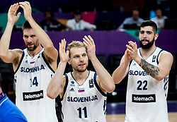 Gasper Vidmar of Slovenia, Jaka Blazic of Slovenia and Ziga Dimec of Slovenia celebrate after winning during basketball match between National Teams of Slovenia and Latvia at Day 13 in Round of 16 of the FIBA EuroBasket 2017 at Sinan Erdem Dome in Istanbul, Turkey on September 12, 2017. Photo by Vid Ponikvar / Sportida